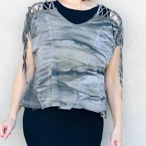 LIP SERVICE Oversized camo TOP mesh tee lace Up